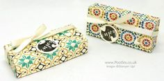 Stampin' Up! Demonstrator Pootles - Fold Over Chocolate Bar Box using Moroccan Paper. Great for treats and party gifts! Click through for more details and video tutorials