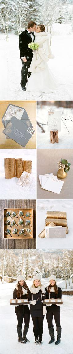 Gilded birch bark | Photos by Aaron Delesie #winter #wedding #gold #gray