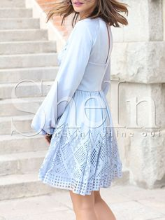 Shop Water Blue Puff Sleeve Cut-work Dress online. SheIn offers Water Blue Puff Sleeve Cut-work Dress & more to fit your fashionable needs.