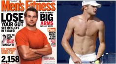 """Tennis player Andy Roddick on the May 2007 Men's Fitness. He said later: """"I'm not as fit as the Men's Fitness cover suggests…little did I know I have 22 inch guns and a disappearing birth mark on my right arm."""" Extreme body alterations occur in both women's and men's magazines."""