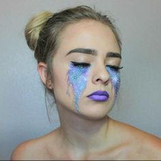 Galactic Make-up selbst macht die Augen Lippen - Mardi Gras - . - Make-Up Fancy Makeup, Cool Makeup Looks, Rave Makeup, Creative Makeup Looks, Unique Makeup, Halloween Makeup Looks, Sfx Makeup, Halloween Make Up, Makeup Art