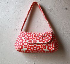 Amy Butler Wallflower Purse cerise - rouge et Ivoire moderne Floral impression petit sac à main