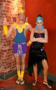 One of our team's favorites: Kronk & Yzma from the Emperor's New Groove. Speaking squirrel not necessary. Needed: purple skirt, blue tank top, black dress, sandals, fabric for accents and  face makeup. Add in angel and devil Kronks using cardboard if you're up for it! #halloween #couplescostumes