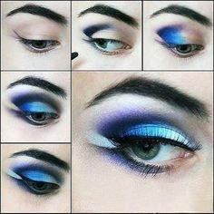 Eye Makeup Tips.Smokey Eye Makeup Tips - For a Catchy and Impressive Look Eye Makeup Steps, Blue Eye Makeup, Diy Makeup, Beauty Makeup, Makeup Ideas, Makeup App, Makeup Style, Eye Makeup Pictures, Makeup Pics