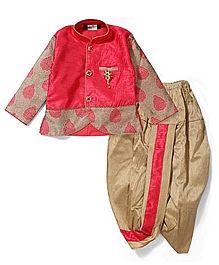 Babyhug Full Sleeves Kurta And Dhoti - Pink Golden
