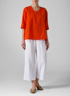 Linen Three-Quarter Sleeve Top Coral Red