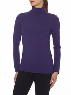"""Doncaster.com-M226BL25EGG.  Mock Turtleneck With Grommet Detail In Lux Viscose Jersey. Full length sleeves, concealed dyed-to-match back zipper, gold grommets at shoulders and side neck. Unlined, 24"""". Dry Clean Only. Imported. 94% VISCOSE, 6% SPANDEX"""