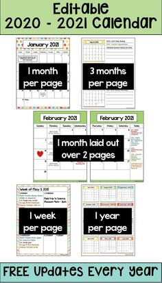 This 2020-2021 Calendar template is editable so you can customize for your class.  It's printable and is perfect for teachers, students at school, or for kids.  There are 6 different layouts with weekly, monthly, and yearly calendars. The weekly layouts will make your life easier for your lesson plans. You will also receive editable binder covers and matching spine labels for your calendar. Free updates every year. Teacher Calendar, School Calendar, 2021 Calendar, Yearly Calendar, Organization And Management, Classroom Organization, Insert Text, School Plan, Binder Covers