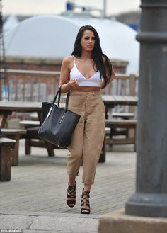Daring to bare: The Geordie Shore babe managed to grab the attention by displaying a lot c. White Bralette Top, Bralette Tops, Marnie Simpson Instagram, Charlotte And Gaz, Geordie Shore Marnie, Outfit Goals, Outfit Ideas, Character Inspiration, Fashion Inspiration