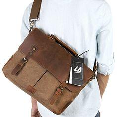 Langforth Vintage Messenger Bag Umhängetasche Aktentasche Schultertasche 14 Zoll Laptoptasche Notebooktasche aus Canvas und Leder Schwarz