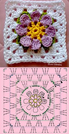 crochet granny square rose sExtremely beautiful and vibrant, this Free Daffodils Granny Square Crochet Pattern is simply amazing.Cute granny square with flower motif.Crochet Diagram Flowers - crochet owl of african hexagone chart. Crochet Flower Squares, Flower Granny Square, Crochet Motifs, Crochet Blocks, Granny Square Crochet Pattern, Crochet Diagram, Crochet Chart, Crochet Granny, Crochet Flowers