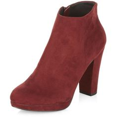 Dark Red Zip Side Heeled Boots ($39) ❤ liked on Polyvore featuring shoes, boots, deep red, round toe shoes, round cap, round toe boots, red mid heel shoes and red shoes