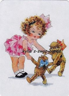 J62 PRETTY LITTLE GIRL swap playing cards MINT COND dancing with teddy bear