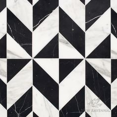 Lancaster Large, a hand-cut stone mosaic, shown in polished Calacatta Tia and Nero Marquina, is part of the Palazzo collection by New Ravenna. Texture Sol, Stone Texture, Marble Texture, Floor Patterns, Tile Patterns, Textures Patterns, New Ravenna, Carlo Scarpa, Black And White Marble