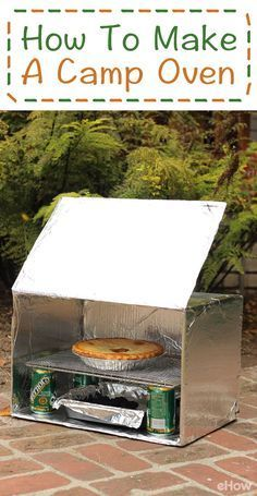 DIY this easy oven for when you are camping (or picnicing outside!  Bake most anything with this oven, made using a cardboard box and other common household materials! It also comes in handy as a food warmer or ice box. http://www.ehow.com/how_4441173_mak