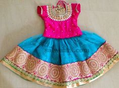 Blue Skirt Maggam Work Blouse - Indian Dresses