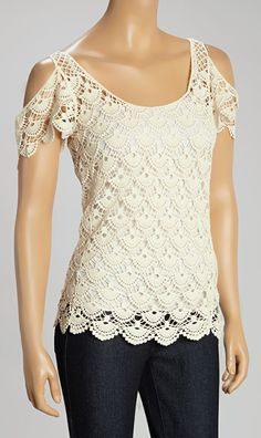 Crocheted Scallop Lace Cutout Top