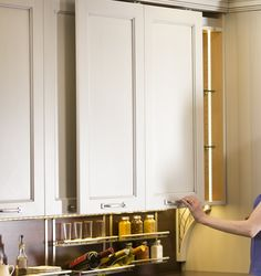 Plain & Fancy cabinets with state of the art Frontino sliding doors from Hafele @CleverStorageUS