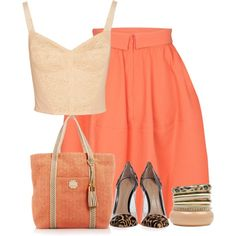 """""""Coral Tan and Black"""" by cavell on Polyvore"""