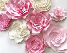 Items similar to Pink Paper Flower Wall x Extra Large Paper Flowers Decoration Photo Backdrop Prop on Etsy White Paper Flowers, Paper Flowers Wedding, Paper Flower Wall, Paper Flower Backdrop, Flower Wall Decor, Pink Paper, Large Flowers, Diy Flowers, Paper Roses