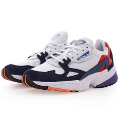 Adidas Originals White And Navy Falcon Sneakers Womens In 2019