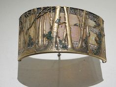 """Rene Lalique """" Wooded Landscape """" Choker plaque - Gold, opals, enamel and diamonds - ** image from Museu Calouste Gulbenkian (Calouste Gulbenkian Museum) Lisbon, Portugal ** High Jewelry, Jewelry Art, Gold Jewelry, Vintage Jewelry, Jewelry Design, Jewellery, Lalique Jewelry, Enamel Jewelry, Diamond Image"""