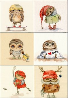 Совы Carnet Bullet Journal, Owl Pumpkin, Owl Cartoon, Paper Owls, Owl Pictures, Vintage Christmas Images, Owl Print, Decoupage Paper, Watercolor Animals
