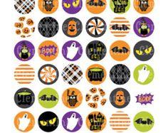 Halloween-Flasche Kappe Bilder, Bottlecap Bilder, ein Zoll-Kreise - GEMA-freie digitale Collage Blatt-Instant Download