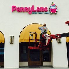 "@pennylaneyogurt's photo: ""Guess what we got today?! Just installed and we are so excited! #pennylane #campbell #candy #comingsoon #frozenyogurt #dessert #sweettreats #froyo"""