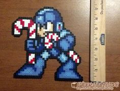 Megaman perler bead Christmas Ornament by Hirosspriteshop on Etsy