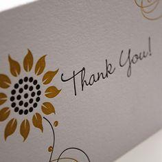 'Sunflower' Letterpress Thank You Cards by www.bellisstudios.com