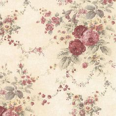 Aged Antique Rose Floral Wallpaper on eBay!