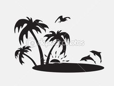 Palm trees on the beach with fish