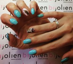 Baby blue with dreamcatcher nailart Nails
