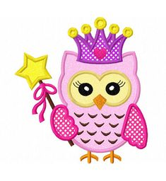 Instant Download Princess owl Applique Machine Embroidery Design NO:1360