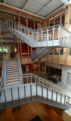Commercial stairway featuring cable railing from Ultra-tec®.