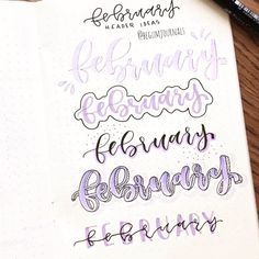 Tutorial for the February headers I've posted yesterday ✨ Hope this might help some of you 💜 Would you like to see more tutorials like… Bullet Journal Doodles, Bullet Journal Headers, February Bullet Journal, Bullet Journal Banner, Journal Fonts, Bullet Journal Notebook, Bullet Journal Ideas Pages, Bullet Journal Inspiration, Bullet Journals