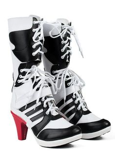 Dress your own style as Harley Quinn,Suicide Squad Harley Quinn Womens Cosplay Shoes White PU Pleather High Heel Boots. Dress your own style as Harley Quinn. All products are quality checked. Joker Et Harley Quinn, Harley Quinn Halloween, Harley Quinn Cosplay, Halloween Cosplay, Halloween Shoes, White High Heel Boots, White Shoes, High Heels, Black Boots