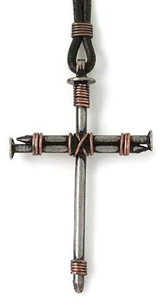 "Bob Siemon Nail and Copper Wire Cross Pendant on Leather Cord, 30"" $19.99"