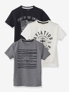 Lot de 3 T-shirts garçon - Jaune clair+gris clair chiné+Marine+bleu grisé+écru+Noir+gris clair chiné+écru+Rouge+écru+gris clair chiné+Vert aqua+écru+marine+Vert sauge+écru+gris - 12