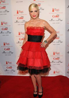 Tori Spelling in Betsey Johnson at the 2009 Heart Truth Fashion Show