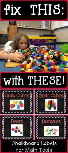 Let's get organized! Straighten up your math manipulatives with labels for your bins. Each label shows a photo of the math tool to help students find and return the manipulatives they need. Labels measure 3.5 x 4.75.