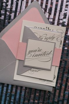 Beautiful Blush and Grey Romantic Wedding Invitations by Just Invite Me