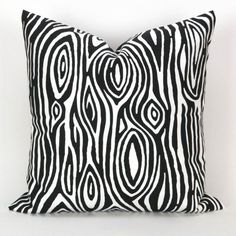 Wood Grain Pillow Cover -ANY SIZE- Faux Bois black white Willow - decorative throw euro sham cushion modern contemporary premier prints