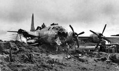 Another view of a B-29 crashed on Iwo Jima.
