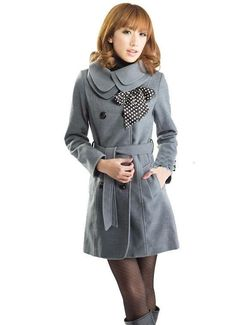 Double Breasted Coat Outerwear Jacket in Gray