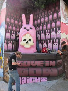 Pink Bunny in the Lower Haight  For years, the former campus of UC Berkeley Extension -- particularly its Haight Street wall, between Laguna and Buchanan -- was a magnet for unseemly graffiti, but the past few years have seen an explosion of noteworthy street art, and a denouement of sorts occurred in 2011 with the placement of a giant pink bunny at the campus' northeast corner. The toothy sculpture is the creation of Jeremy Fish.