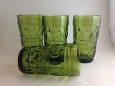 Set of 4 Indiana Glass Olive Green Kings Crown Thumbprint Water Tumblers Glasses    12 Ounce  Mid Century Barware Retro Water Glasses by SheWhoPlaysWithGlass on Etsy https://www.etsy.com/listing/474503623/set-of-4-indiana-glass-olive-green-kings