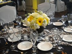 black, grey and sunflower wedding  | ... doesn't the bright yellow just pop on the black — very pretty