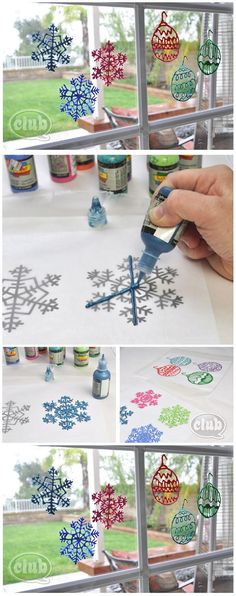 How to snowflake window clings. Decorate for Xmas party or just for the season How to snowflake window clings. Decorate for Xmas party or just for the season Noel Christmas, Winter Christmas, All Things Christmas, Christmas Ornaments, Christmas Windows, Christmas Ideas, Winter Fun, Winter Craft, Diy Ornaments
